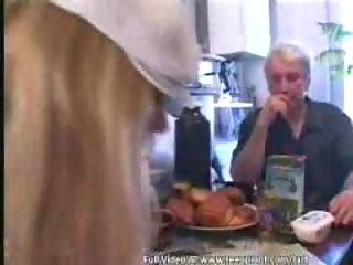 Teen asssisting a grandpa