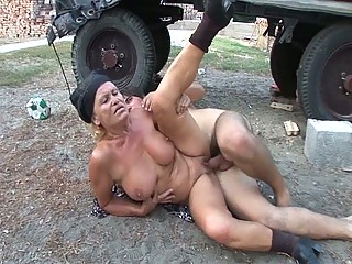 Slutty granny gets her wet shaved pussy drilled