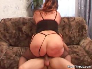 Chubby slutty MILF with huge cock sucks