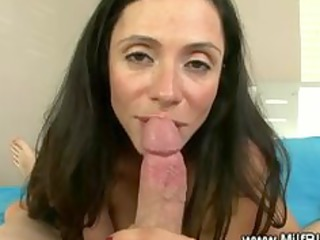 Horny milf masturbates then blowjob and russian