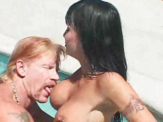 Hot MILF deepthroats and fucks bf by the pool
