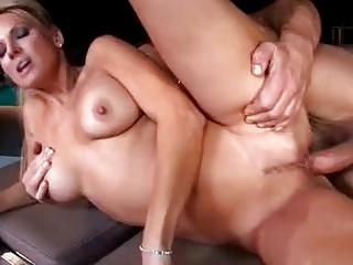 BUsty blonde pornstar milf sucks hard knob by the