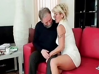 Horny mature blows old penis deep and hard