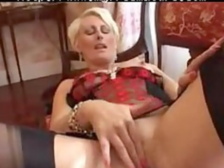 Pierced Granny In Black Fully Fashioned Stockings