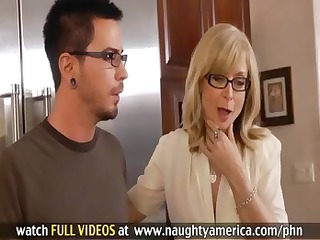 Hot MILF Nina Hartley sucks on his cock and fucks