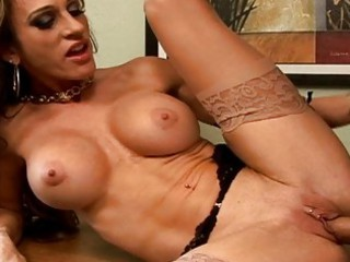 Amazing busty milf get a dick on a table