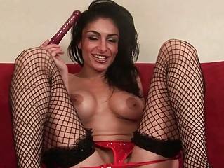 Big titted MILF bitch masturbating in sexy black