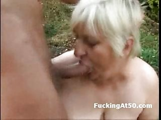 Slutty fat granny blowjob and fucked by the devil