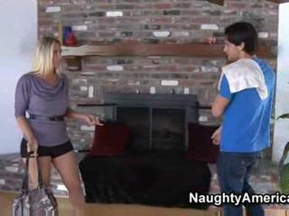 Blonde milf has rough sex n front of fireplace