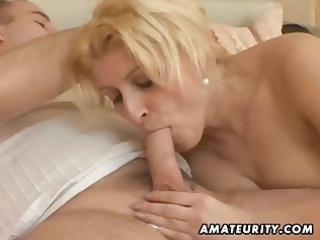 Busty, chubby amateur wife eats his cock, fucks
