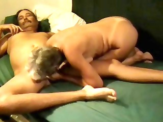 Mature blonde nympho amateur eats his cock then