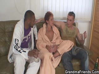 Wicked granny takes 2 dongs at one time