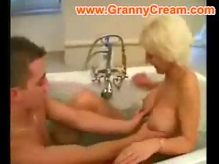Blonde mature mom fucked in the bathroom
