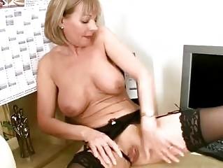 Mature office stocking rub
