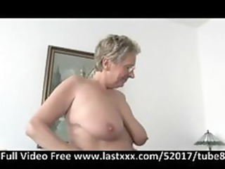 German granny gets a pound on the couch