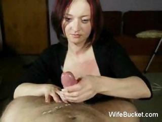 MILF wife gives great handjobs