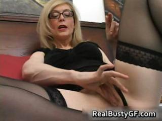Blonde mom in glasses licking stiff part1