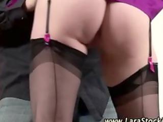 British stockinged mature slut seduces cock