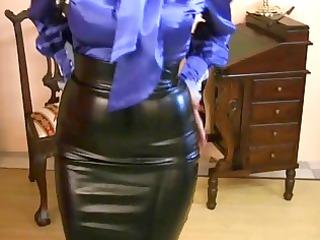 MILF Wearing Tight Satin Skirt