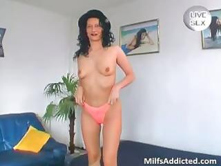 Big glass dildo for horny nude MILF part4
